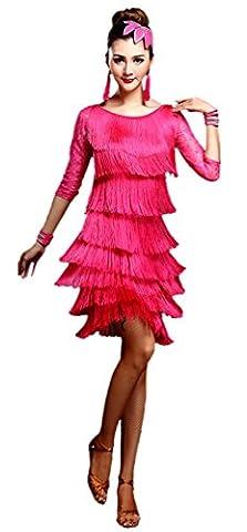 Honeystore 2016 Neuheiten Damen Vielschichtig Quasten Swing Rhythmus Jazz Latein Dance Kleid Fuchsie (Couture Kostüm Tanzkleidung)