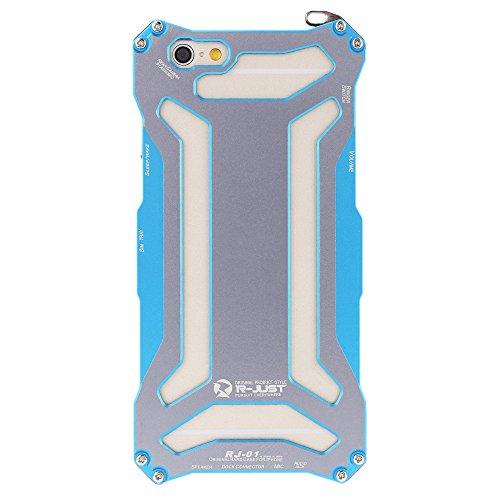 R-JUST Kohlefaser Aluminium Hülle Tasche Schutzhülle Case Cover für Apple iPhone 6 für Outdooraktivitäten Blau