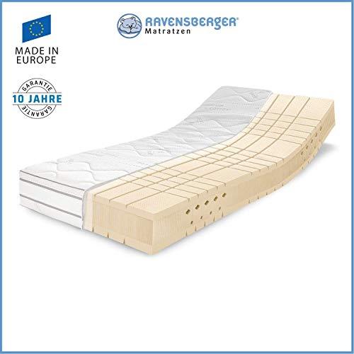 RAVENSBERGER TALALAY® Premium Latexmatratze 100% Naturlatex | 7-Zonen-Latexmatratze H2+H3 RG 66 (45-120kg) | Made IN Germany - 10 Jahre Garantie | Premium Cotton®-Bezug | 90 x 200 cm -