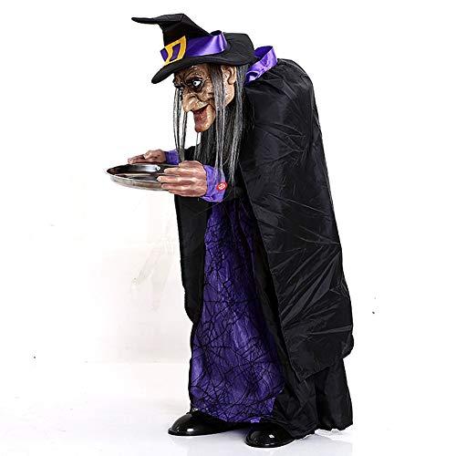 JINRU Sprechen Hexe Halloween Haunted Haus Perfekt, Um Halloween-Party Haunted Haushof Beängstigend Mit Ton Für Spricht Kakteen Blinken Genießen