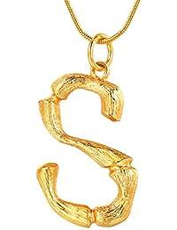 9473b8caec2f FOCALOOK Damen Anhänger Halskette 26 Buchstaben A B C mit 1,2mm 55cm  Schlangenkette Bambus Stil Coole