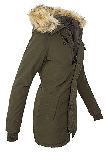 Damen Winterjacke Mantel Kunstfellkragen Parka Outdoor warm D-374 XS-XXL ArmyGreen
