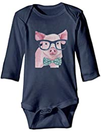 WBinHua Bodysuits Baby Bodysuit Baby Boys Bertha Watercolor Pig Sunglass Bow Tie Baby Boys Girls Long