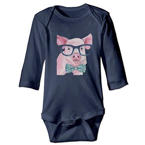 by Body, Bertha Watercolor Pig Sunglass Bow Tie Baby Boys Girls Long Sleeve Onesies Bodysuits ()