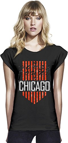 House Sound Of Chicago Retro Womens Continental Rolled Sleeve T-Shirt Large (Womens Chicago Retro T-shirt)