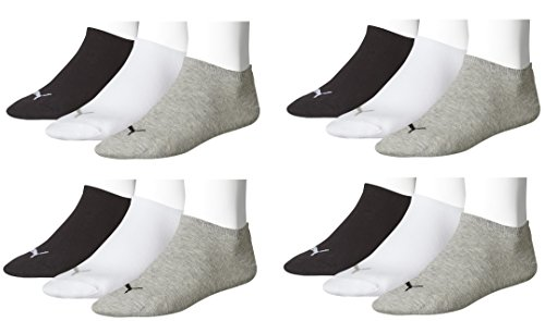 Puma Unisex Sneaker Sportsocken 12 x Paket (39-42, schwarz/weiß/grau) -