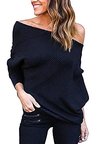 Hey~Yo Herbst Neue Damen Reizvolle Schräg Shoulder Jersey Oberteil Schulterfrei Langarmhemd einfarbig Baggy Blouse Modern Pulli Sweatshirt Tuniken T-Shirt Pullover (36, Schwarz)