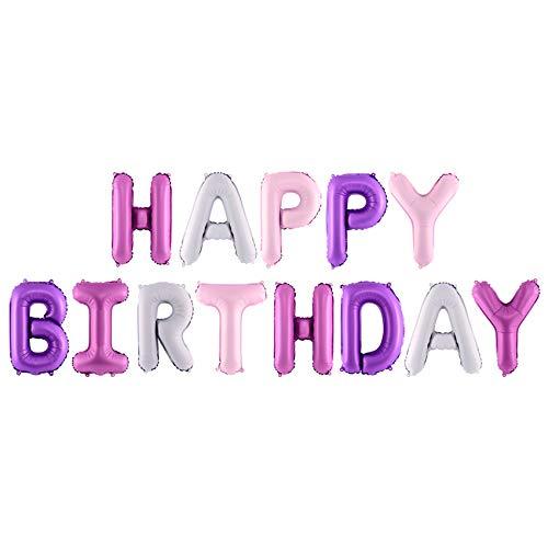 jakopabra XXL Ballon-Schriftzug Happy Birthday in pink und lila Girlande Geburtstagsdekoration Party