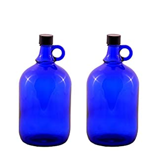Glass balloon Bottle Gallon Blue glass Bottle 2 Liter or 5 Liter Screw cap Synthetic black - Henk eleven tab blue glass, ideal for Aquadea Crystal - Swirl Water, Two Litre or Five Litre - 2 x 2 Liter