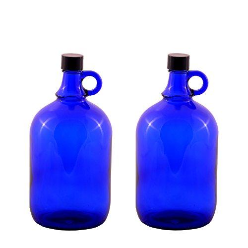 LGL Haushaltswaren GmbH Blaue Glasballonflasche 2X 2 Liter aus Blauglas Flasche mit Schraubverschluss und Henkel (2x2Liter) Blau Glas