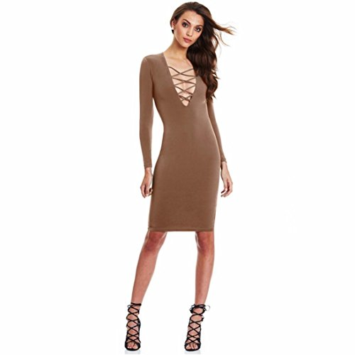 FEITONG Sexy Femmes Long Cross manches Bandage Parti Slim Pencil Bodycon Vestidos Robe Kaki