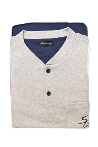 Giorgio rey - pigiama 08-104 per uomo, 100% cotone interlock caldo cotone, manica lunga - blue - s