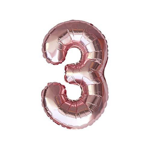 Oblique Unique® Folien Luftballon mit Zahl Nummer in Roségold für Geburtstag Jubiläum Party Deko Folienballon - Zahl wählbar (Nr 3) -