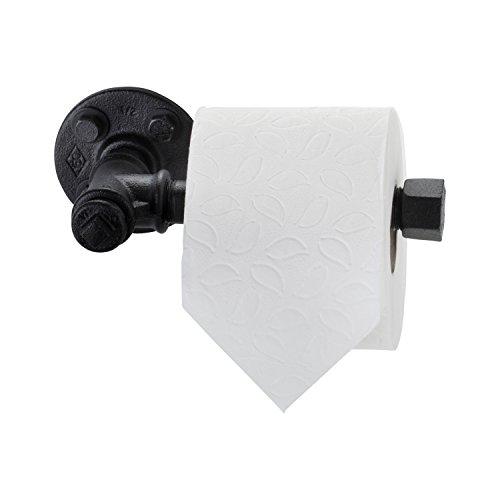 amieli 'Munich' WC Toilettenpapierhalter aus Temperguss Eisen, schwarz pulverbeschichtet im Retro Industrie Design Look, handgefertigter WC Papier Halter Ersatzrollenhalter inkl. Wandmontagematerial