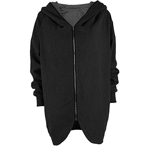 KINDOYO Manteaux Hiver Femme Veste à Capuche Manteau Long Fermeture éclair Noir