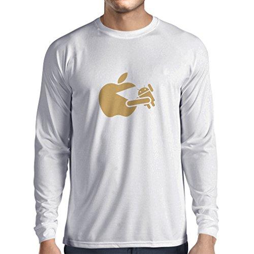 N4212L T-Shirt mit langen Ärmeln Lustige Apfel isst einen Roboter Unisex T-Shirt Weiß Gold