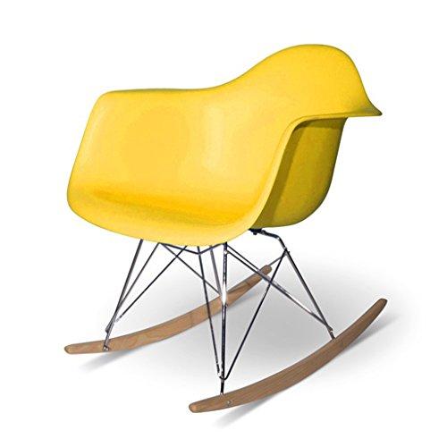Chaise paresseuse Dossier Chaise à Bascule Mode Loisirs Chaise Balcon Chambre Chaise Longue pour Adultes Plastique + métal + Bois 61X68X71 cm LI Jing Shop (Couleur : Le Jaune)