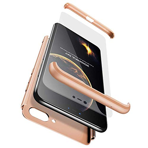 cmdkd Xiaomi Mi 8 Lite Funda, Xiaomi Mi 8 Lite Case Bumper 3 en 1 Estructura 360 Grados Integral para Ambas Caras Hard Skin Carcasa + Cristal Templado para Xiaomi Mi 8 Lite,Oro