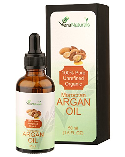 Vera Naturals Pure Unrefined Organic Moroccan Argan Oil (Argania Spinosa) 50Ml With Dropper For Hair, Face, Skin, Body& Nails, 100% Natural Moisturizer.