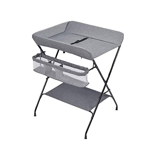Baby Changing Table, Multifunction Massage Table with Storage, Diaper Station Collapsible GUYUE Storage: Storage basket, bottom shelf. Steel pipe + Oxford cloth + Waterproof support plate.(The diaper table has a bearing capacity of 20kg.) Size- As shown, 74x63x93cm(1cm=0.39 inch) Suitable for babies weighing less than 20kg. 1