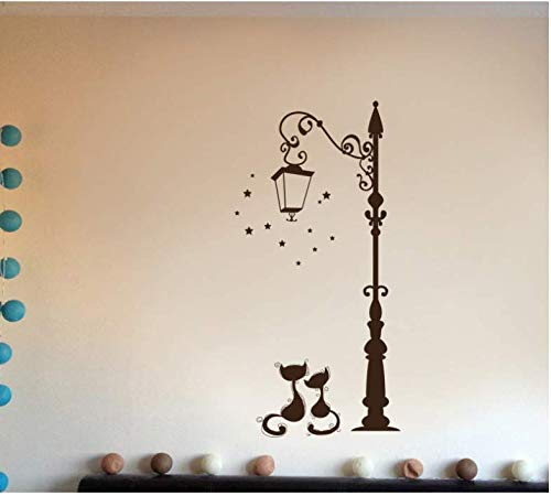 Decorativas pegatinas de pared con diseño farola + gatos por sólo 1,89€