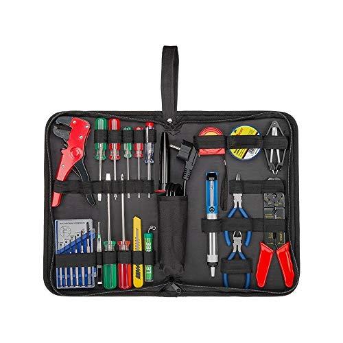 Fixpoint 45243 Lötset und Werkzeugset in praktischer Tasche, 20-teilig mit Lötkolben, Schraubendreher, Phasenprüfer, Zangen uvm.