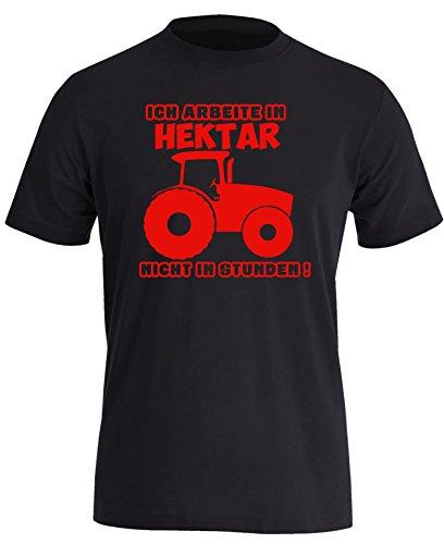 Ich arbeite in Hektar und nicht in Stunden - Herren Rundhals T-Shirt Schwarz/Rot
