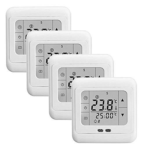 FROADP 4 Stück/Set Raumthermostat Digital Thermostat Programmierung Raumthermostat Heizungs Raum Temperatur Regler mit LCD TouchScreen Blau Für Wade Die Heizung Wand Elektrische(4 Stück/Set)