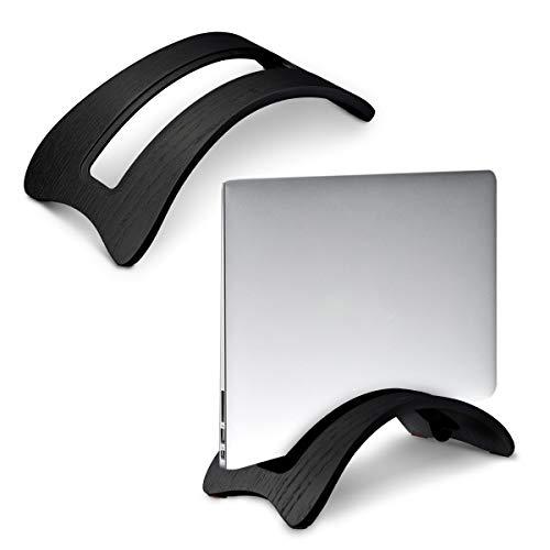 kalibri Laptop Ständer Notebook Stand - Halterung aus Holz 3X Silikoneinsatz für MacBook Air/Pro/Pro Retina/Tablet iPad - Eichenholz Schwarz -