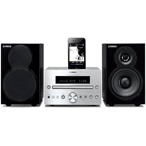 Yamaha MCR-232 - Microcadena de 40 W, con docking para iPad, iPhone, iPod (estéreo), negro y plateado