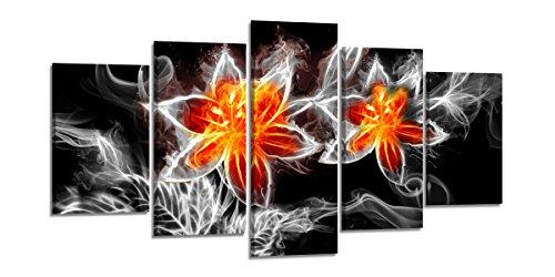 Visario Bild & Kunstdruck der Deutschen Marke 200 x 100 cm ArtNr 6329 Bilder auf Leinwand Kunstdrucke Feuer Blume Wandbild fünfteilig
