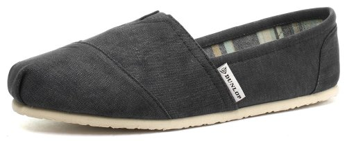 Dunlop Dark Grey Canvas Leather Insole Mens Slip On Espadrilles Size UK 9