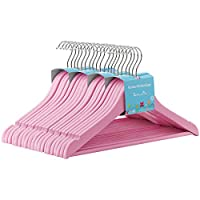 SONGMICS 35 cm Set of 20 Wooden Coat Clothes Hangers with Trouser Bar for Children