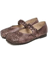 YNXZ-SHOE De Las Mujeres Sandalias Cuero Cabeza Cuadrada Zapatos Planos, Personalidad Simple Boca Poco Profunda...