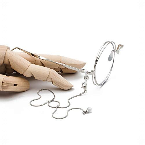MAGAI Mode-Halbrahmen-dekorativer einzelner Rand-Glasrahmen mit Kette (Farbe : Silver Chain)