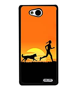 LG L90, LG L90 Dual Back Cover 3D Render Of A Female Jogging On The Beach With Her Dog Design From FUSON