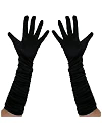 Long Ruched Satin Evening Gloves - Black by The Pea's Knees