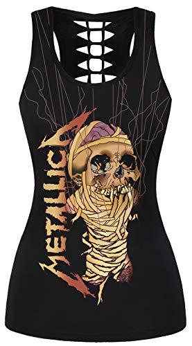 Ocean Plus Damen Sommer Gothic Tops Criss Cross Racerback Sport Ärmellos Strappy Tank Tops Klassischer Rock Weste (S/M (Brustumfang: 68-88 cm), Mummy Metallica) -