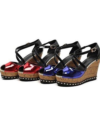 UWSZZ IL Sandali eleganti comfort Scarpe Donna-Sandali-Ufficio e lavoro / Serata e festa / Scarpe comode-Zeppe / Tacchi / Spuntate-Zeppa-Di pelle-Blu / Rosso Blue