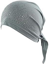 Fossrn Turbantes para Mujer Cancer, Sombrero de Cancer Chemo Sombrero Beanie Bufanda Rhinestone Wrap Cap Cabeza de Turbante