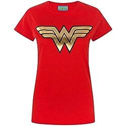 Wonder Woman - Camiseta con Logo holográfico para Mujer (XXL/Rojo)