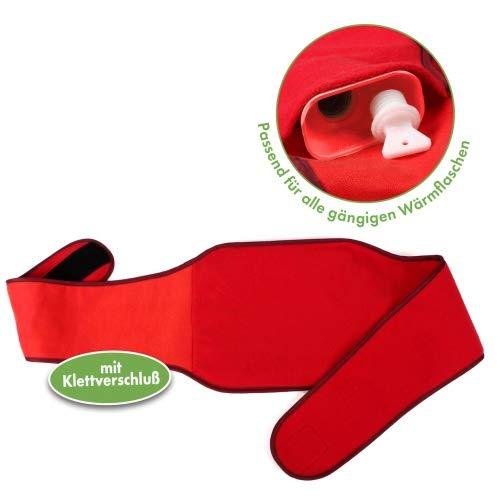 Vital Comfort Wärmflaschenhalter, Wärmflaschen Gürtel mit Klett, ohne Wärmflasche, rot