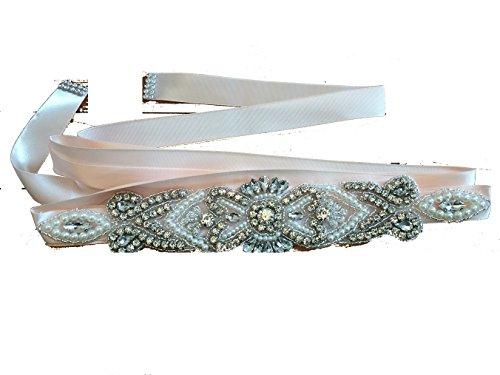 Lia Brautgürtel, Strassgürtel, 270x2 cm, Satin, Vintage lachs rosa, Vintage Gürtel zum...