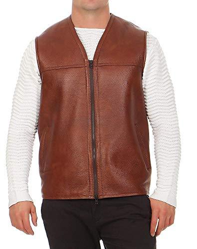 Hollert German Leather Fashion Lammfellweste - FIRMINIUS ohne Kragen Herren Weste Lederweste Fellweste Größe XXL, Farbe Cognac