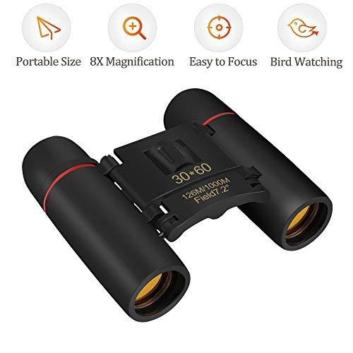 Prismáticos Compactos, Qoodus 30x60 Potente Telescopio Vision Nocturna Plegable Resistente Mini Bolsillo Telescópico Para Adultos, Niños, Observación de Aves, Viaje, Caza