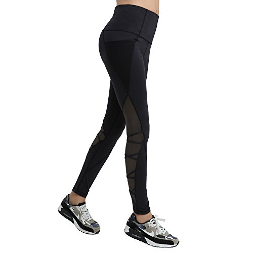 Damen Legging Yoga Jogginghose Schwarz Stretch Workout Fitness Schwarz SCHWARZ*
