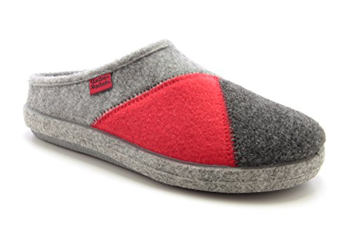 AM001 - Andres Machado - Das Original seit 1984 - MADE IN SPAIN - Fußbett - Hausschuhe mit bunten Verzierungen/in verschiedenen Gräutönen und Rot AM001MULTI Rot