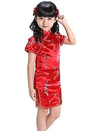 BOZEVON Niña Cheongsam Vestido - Manga Corta Qi Pao Chino Tradicional  Vestido Fiesta Verano Vestido 7231ba6980c