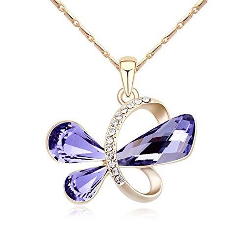 QIYUEQI Damen Kette Halskette Mit Anhänger Kommt In Eleganten Geschenk-Box, Nickel-Freie Bestanden Sgs Test Crystal Violett Gold Frau