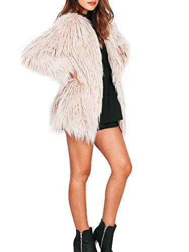 Simplee Apparel le maniche lunghe di finto pelo pelo caldo d'inverno outwear giacca pesante soprabito nero femminile Khaki